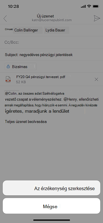 Az Outlook Mobile érzékenységének szerkesztése