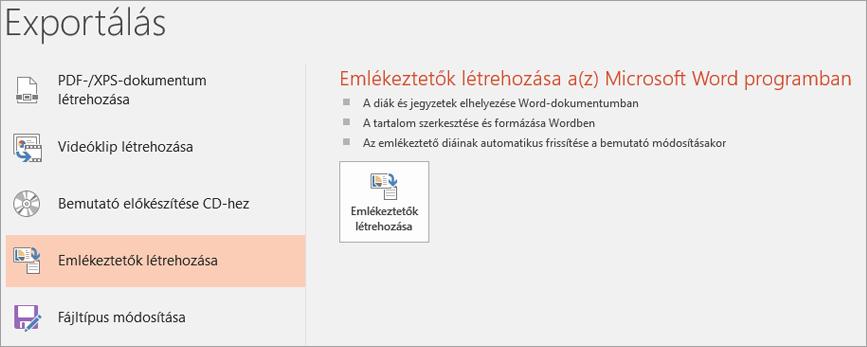Képernyőrész PowerPoint felhasználói felületének a fájl > Exportálás > emlékeztetők létrehozása.