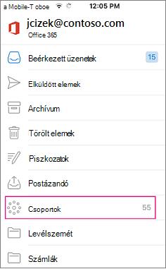 Csoportok az Outlook mobile alkalmazásban a Mappalista csomópontjait