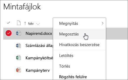 Képernyőkép egy dokumentum helyi menüjéről, amelyben a Megosztás beállítás az aktív
