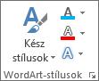 Csak ikonokat megjelenítő WordArt-stílusok csoport
