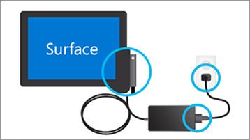 A töltő csatlakoztatása a Surface-en