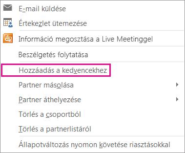 Képernyőkép egy legördülő listáról, mely tartalmazza a Hozzáadás a kedvencekhez parancsot