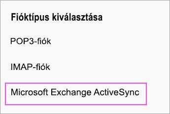 A Microsoft Exchange ActiveSync lehetőség választása