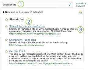 A SharePoint Server kulcsszó három legjobb tippje, amely a keresési eredményeket tartalmazó lap tetején jelenik meg.