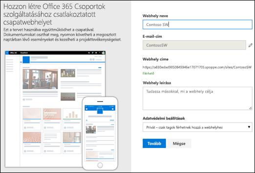 Új SharePoint-csapatwebhely