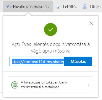 Hivatkozás másolása a OneDrive vállalati verzióban