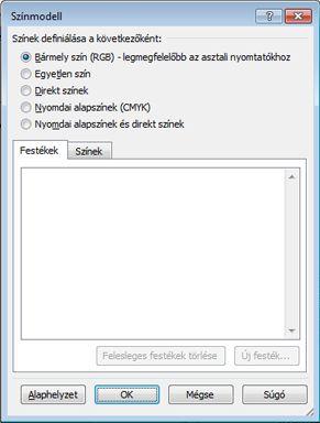 Nyomtatási színmodell kiválasztása a Publisher 2010 alkalmazásban