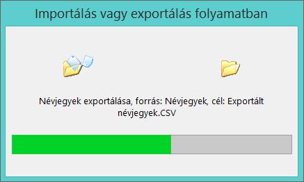 Kép az exportálás állapotjelző sávjáról.
