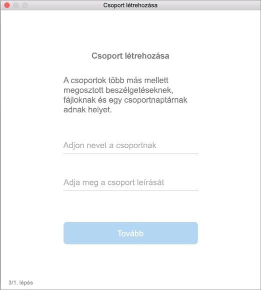 A csoportlétrehozási kezelőfelület Mac gépen