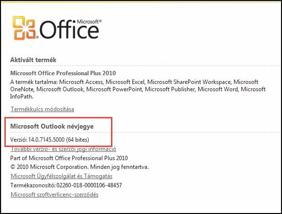 Képernyőkép: a lapot, ahol ellenőrizheti az Outlook 2010-es verziójára, a Microsoft Outlook