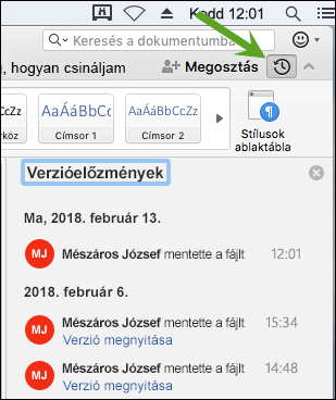 A Verzióelőzmények gomb megnyitja a Verzióelőzmények panelt, ahol kiválaszthatja dokumentuma korábbi verzióit.