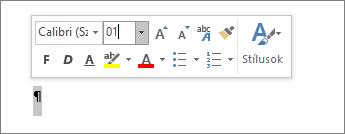 A betűtípus méretének beállítása 1 értékre