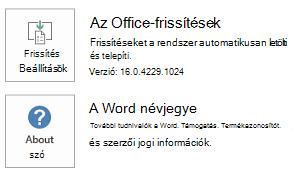 Ha az Office Kattintásra technológiával telepítette az Office-t, így jelennek meg az alkalmazás és frissítési információk.