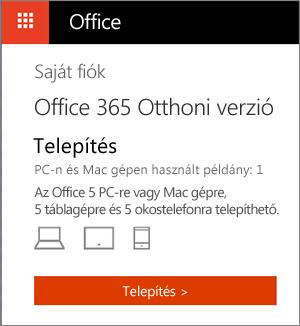 Az Office Áruház Saját fiók lapja a Telepítés gombbal
