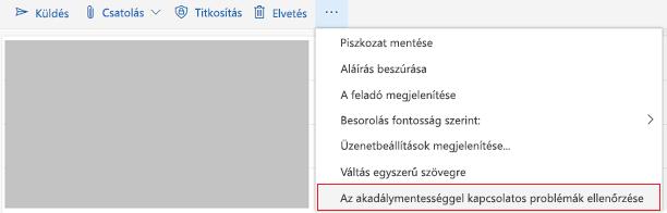 Az Outlook online kisegítő lehetőségeinek ellenőrzése eszköz
