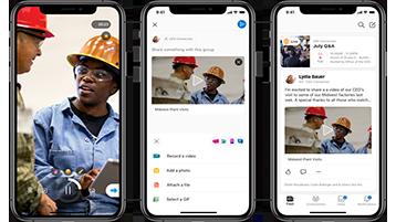 Yammer mobilalkalmazás képernyők
