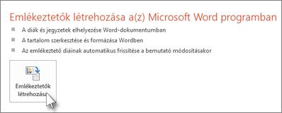 Emlékeztetők létrehozása a Microsoft Word programban