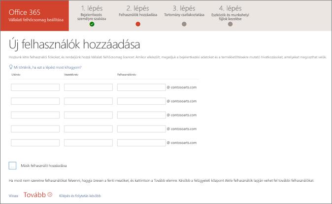 Képernyőkép két új felhasználó hozzáadásáról a beállítási varázslóban