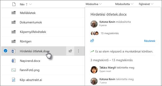 Képernyőkép: a OneDrive-on vagy a SharePointban lévő fájlra mutató hivatkozással megjelenő fájl hover-kártyája