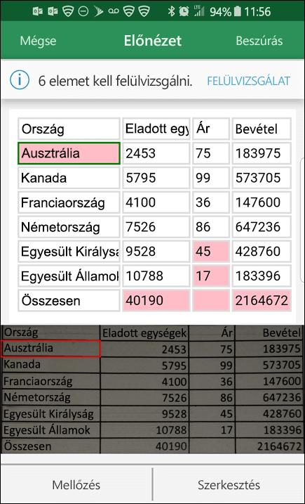 Az Excelből származó adatok importálása képekből lehetőséget nyújt az adatok konvertálásakor észlelt problémák kijavítására.