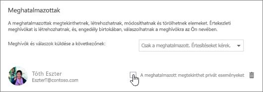Képernyőkép A meghatalmazott megtekinthet privát eseményeket jelölőnégyzetről.