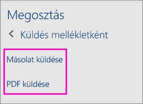 A Megosztás munkaablak két lehetőségének képe, melyekkel megoszthatja a dokumentumot másolatként vagy PDF-ként egy e-mailben