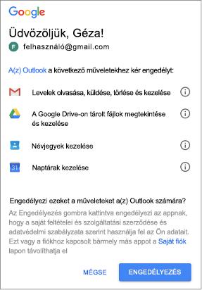 Kattintson az engedélyezés Outlook hozzáférési engedély a Gmail üzenetek, fájlok, névjegyek és naptárak