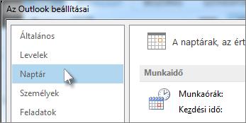 Az Outlook beállításai párbeszédpanelen kattintson a Naptár kategóriára