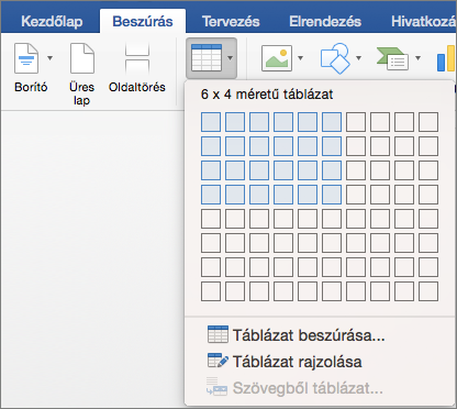 Válassza ki a sorok és oszlopok számát a táblázat gyors beszúrásához