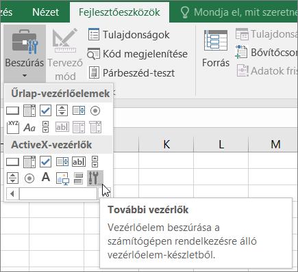 ActiveX-vezérlők a menüszalagon