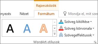 WordArt-stílusok csoport