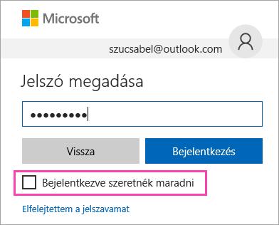 """Képernyőkép a """"Bejelentkezve szeretnék maradni"""" jelölőnégyzetről az Outlook.com bejelentkezési lapján"""