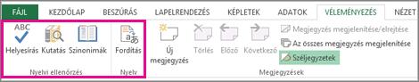 Helyesírási, szinonima és fordítási beállítások