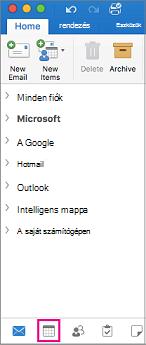 Jelölje ki a Mappalista alján a Naptár gomb az Outlook programban