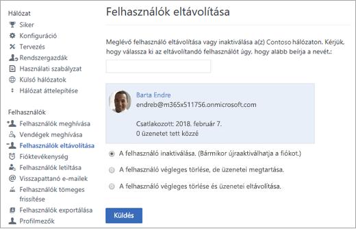 Képernyőkép: felhasználó inaktiválása a Yammerben.