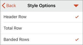 Táblázatfejléc menü az iOS PowerPoint-ban