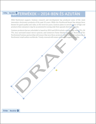 Piszkozat vízjellel rendelkező dokumentum képe.