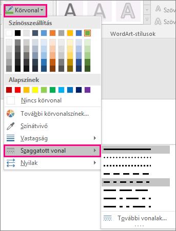 Különböző vonalstílusok az Office-ban