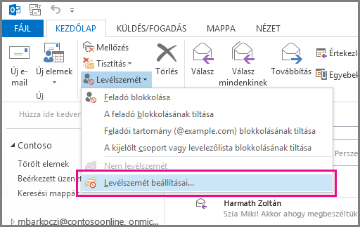 Az Outlook 2013 Levélszemét menüje