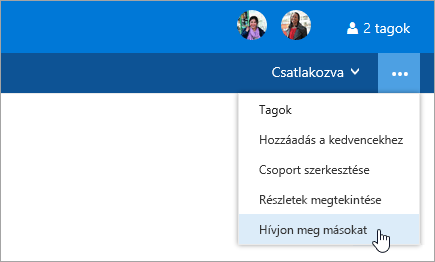 Képernyőkép a csoport beállításai menü mások meghívása gombjáról.
