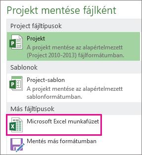 Projektfájl mentése Microsoft Excel-munkafüzetként