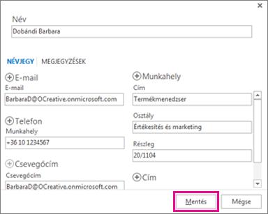 Új névjegy felvétele az Outlookba egy üzenetből