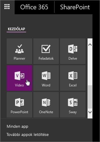 Képernyőkép az appok ablaktáblájáról, amelyen a Videó csempe az aktív