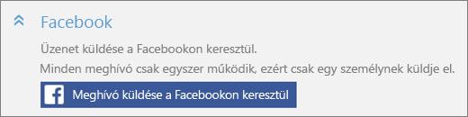 """Képernyőkép: közelkép a """"Felhasználó hozzáadása"""" párbeszédpanel """"Facebook"""" csoportjáról a """"Meghívó küldése a Facebookon keresztül"""" gombbal."""