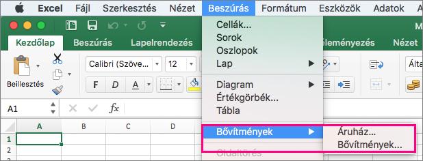 A Beszúrás > bővítmények Mac Office 2016-ban flow.