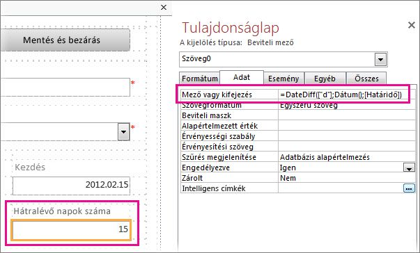 A DateDiff függvény beírása egy beviteli mező tulajdonságlapján a Mező vagy kifejezés mezőbe
