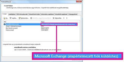 A Fiókbeállítások párbeszédpanelen megjelenített Microsoft Exchange-fiók