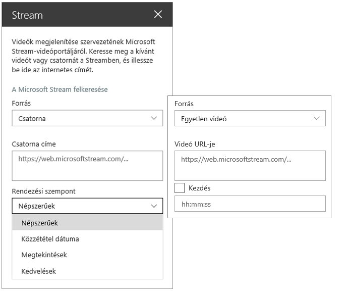 A Microsoft Stream videó eszköztára