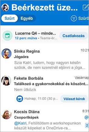 Az Outlook beérkezett üzenetek megjelenítése